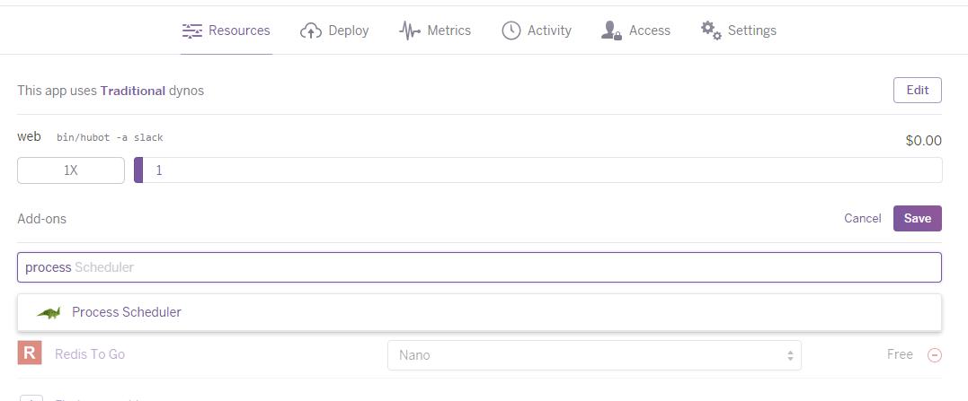 HerokuでProcess Schedulerアドオンを追加する