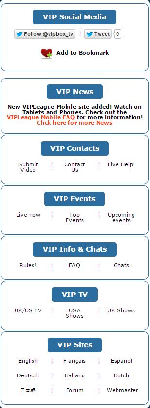 Vipleague user menu