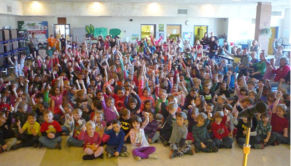 A big thumbs up from students at Beverley Manor Elementary School!