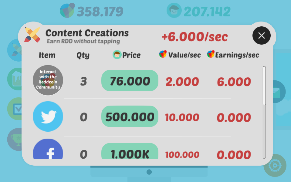 Create content on social networks and earn RDD