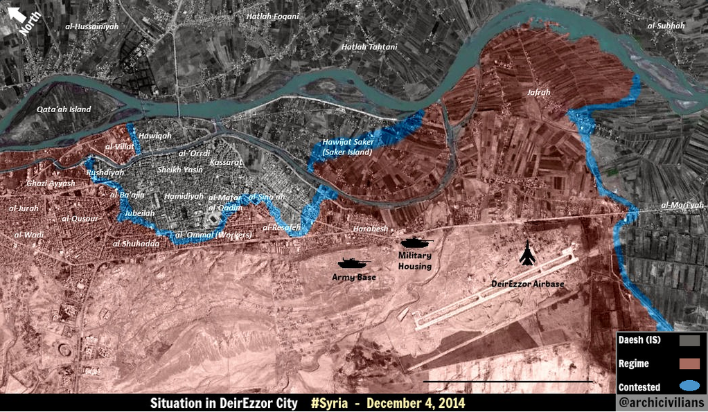 New Map of the Situation in Deir Ez Zor City Dec 4th 2014 by