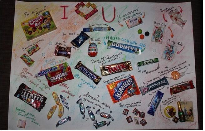Плакаты своими руками на день рождения с шоколадками
