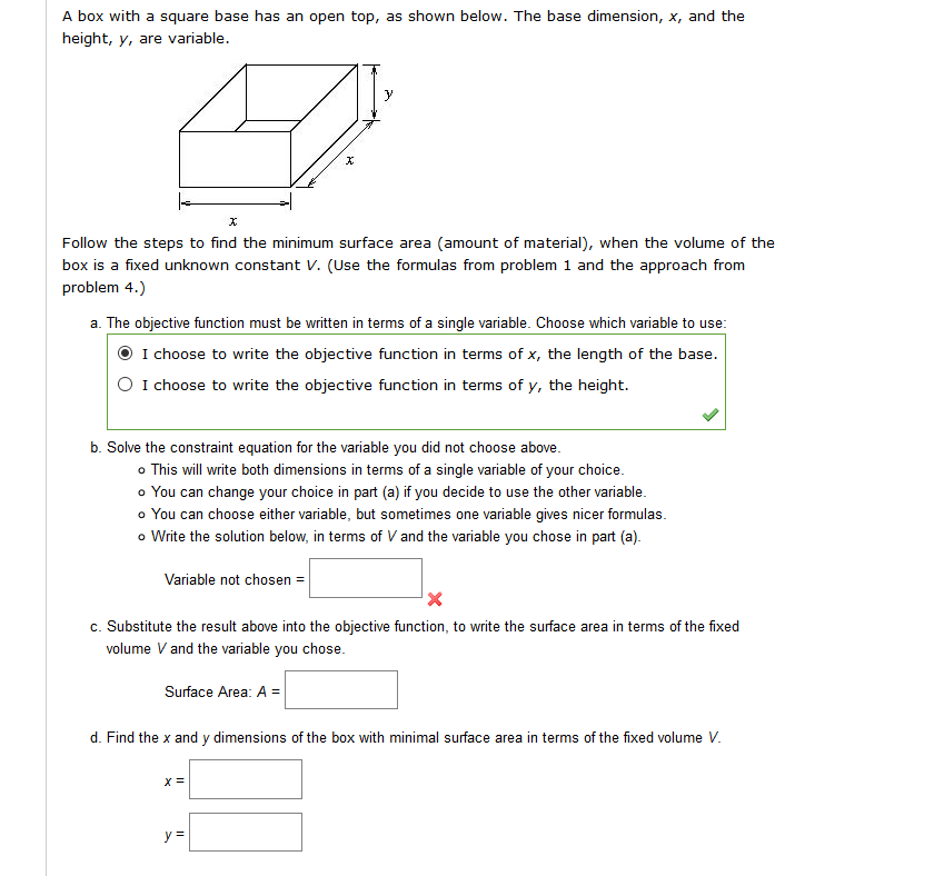 Formulas from problem 1 volume v x2y surface chegg a box with a square base has an open top as shown below the ccuart Choice Image