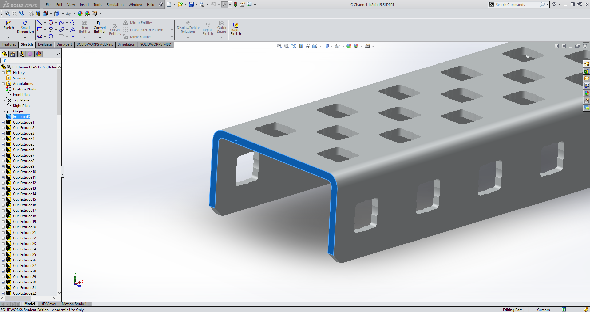 SolidWorks Question: how best to cut a part during assembly