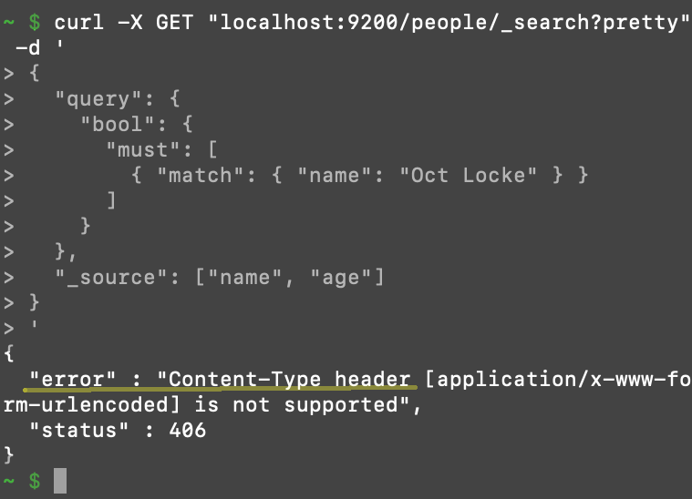 Screenshot of a terminal output with a 406 Content-Type error returned after making a cURL request to Elasticsearch without specifying the content type of the request body
