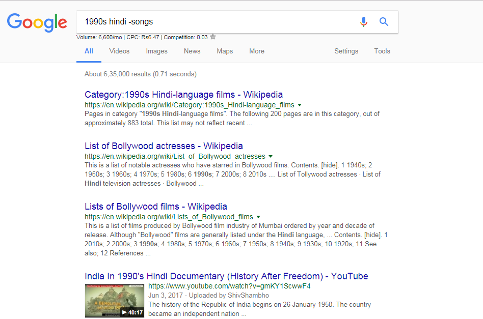 Exclude word from the google search