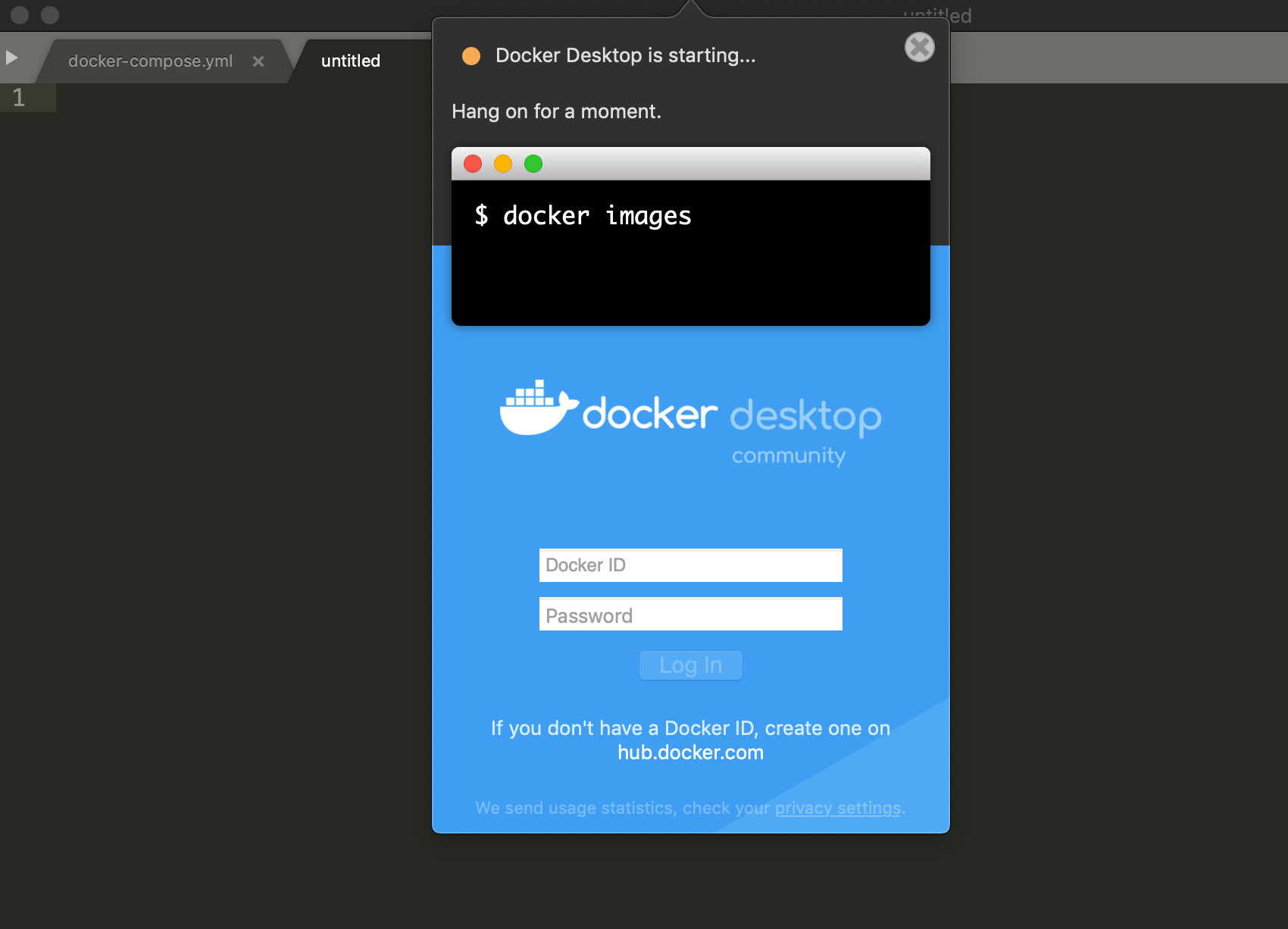 Screenshot of Docker Desktop GUI engine installing on macOS