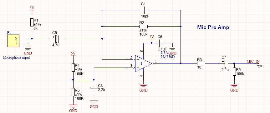 LM358 microphone amplifier
