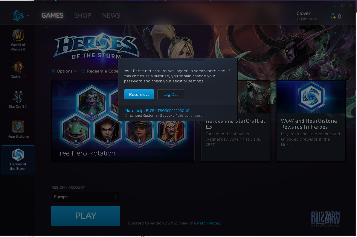 What's up with battle net kicking me off when I log on at a second