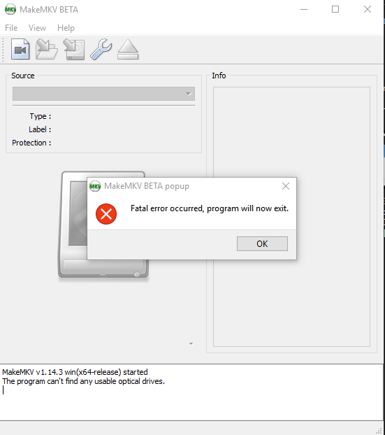 error when trying to open files on hdd - www makemkv com