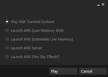 Play ARK: Survival Evolved: Opens The Regular Game.