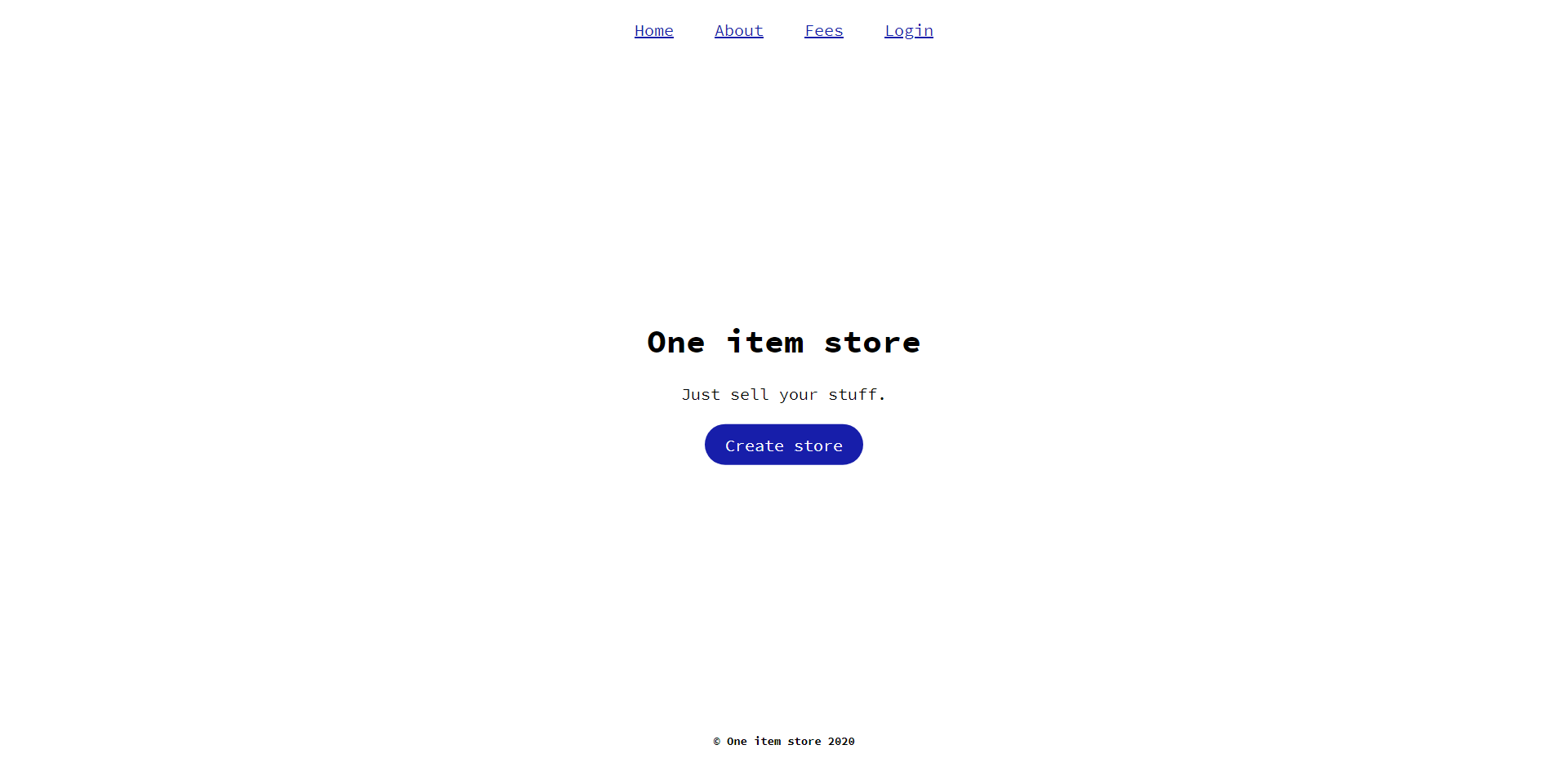 one item store homepage