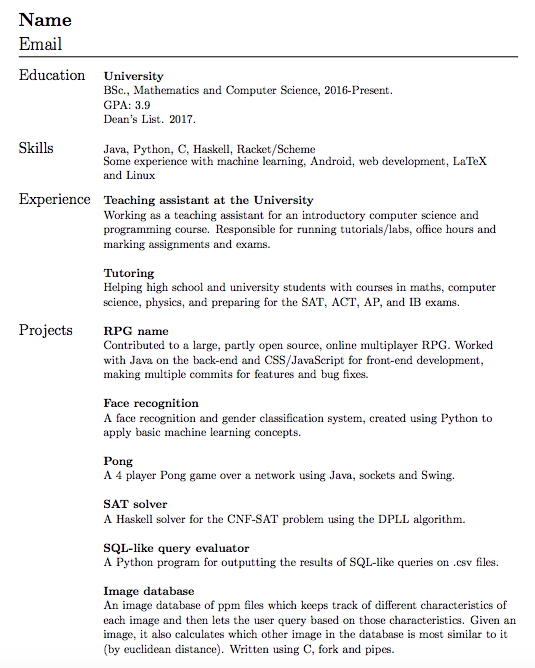 Resume Advice Thread - March 10, 2018 : cscareerquestions