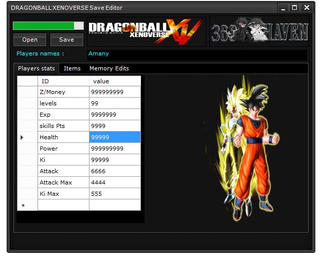 Release] DRAGONBALL XENOVERSE save editor 3 0 0 0