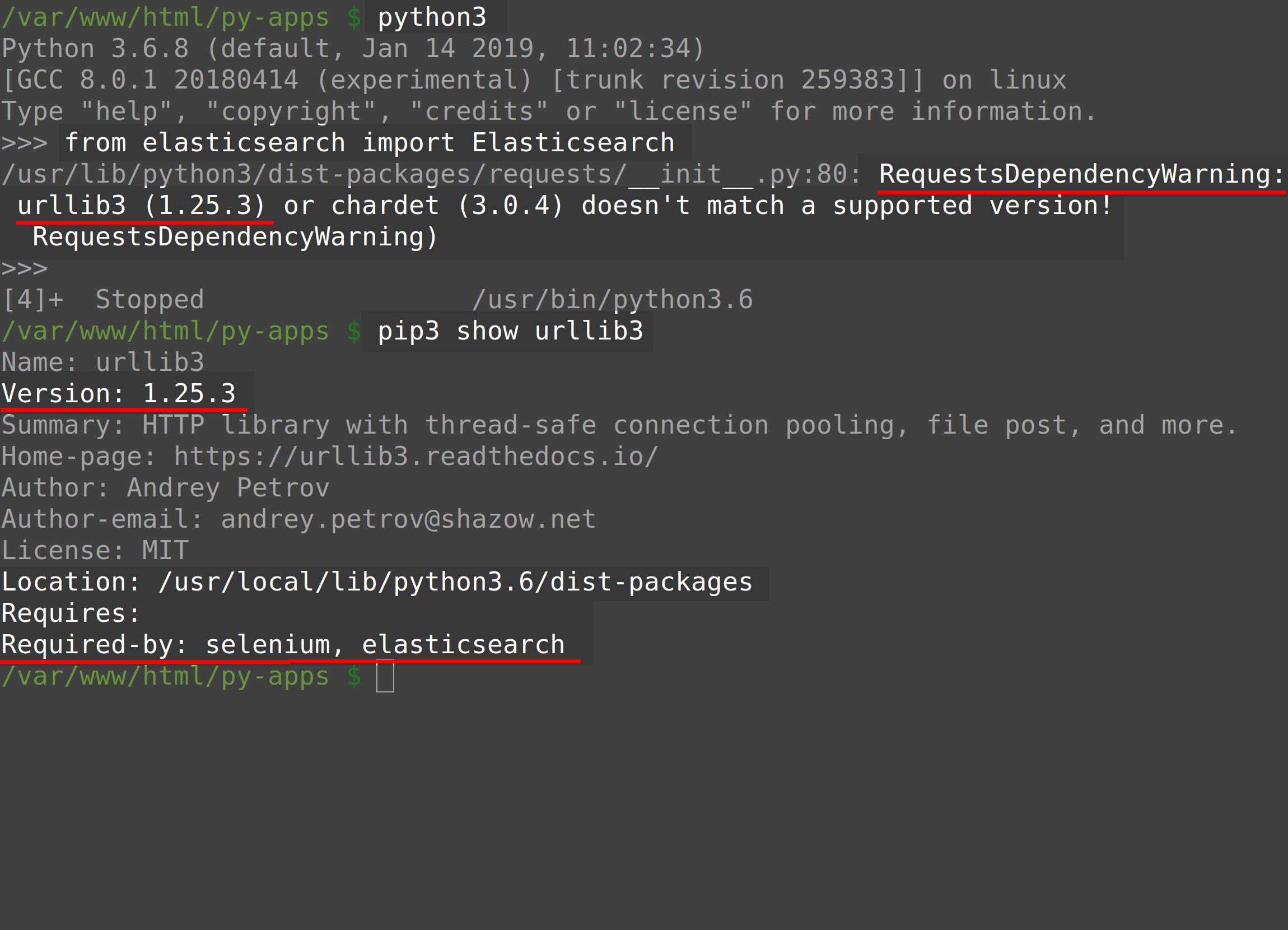 Screenshot of a Python returning RequestsDependencyWarning while importing Elasticsearch