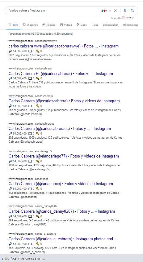 busqueda de perfil instagram