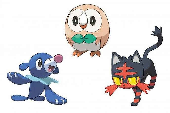 Pokémon iniciales de la séptima generación. De izquierda a derecha: Popplio, Rowlet y Litten. Fuente: https://aminoapps.com