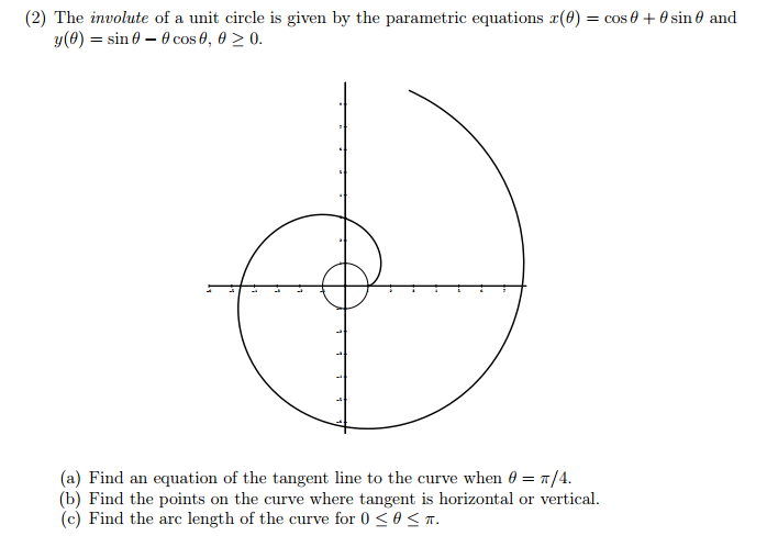 0cbce19256142c929e195d5cf909946c solved the involute of a unit circle is given by the para