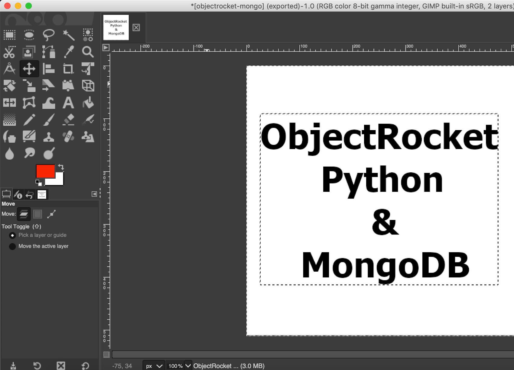 Screenshot of Python PyMongo MongoDB PyTesseract image in GIMP