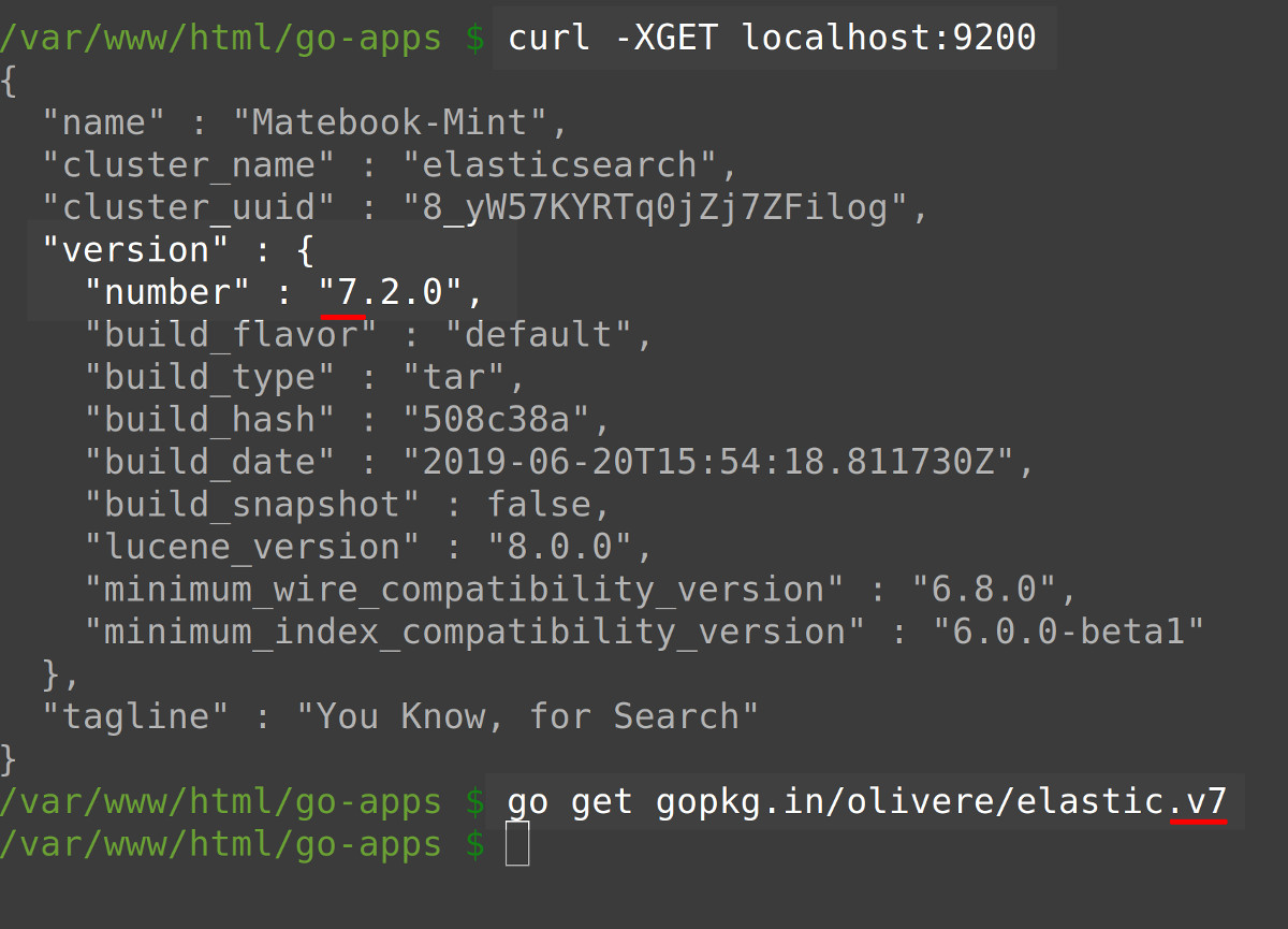 Terminal screenshot using cURL to get Elasticsearch version and go get to install the Olivere driver for Golang