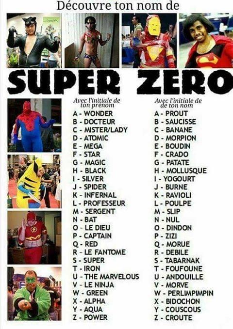 Populaire préféré Votre nom de super-zéro - Bar des Zéros - Hero Zero @BB_65