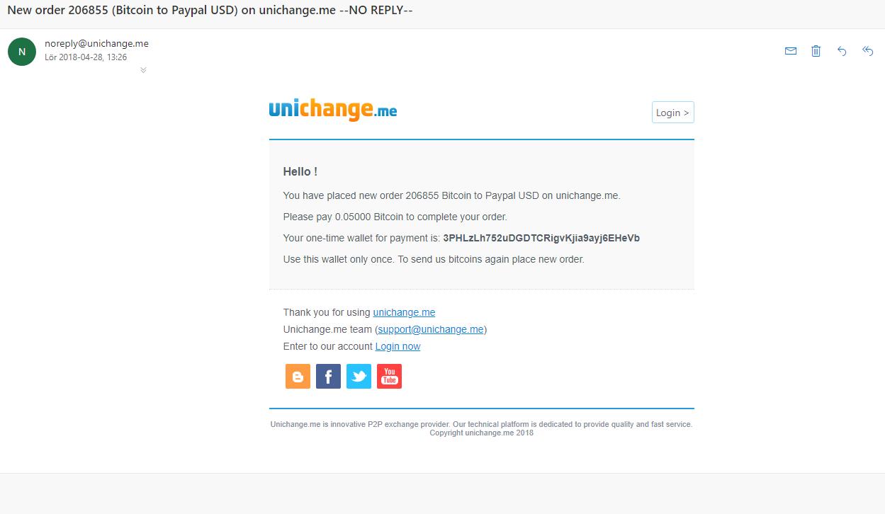 Buy/Sell bitcoin Fast with Unichange me (WesternUnion, PerfectMoney