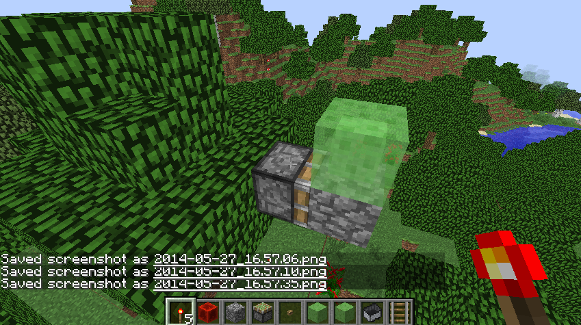Slime block graphic bug recent updates and snapshots minecraft sticky piston with cobblestone placed on piston head and slime block placed on top of cobblestone ccuart Image collections
