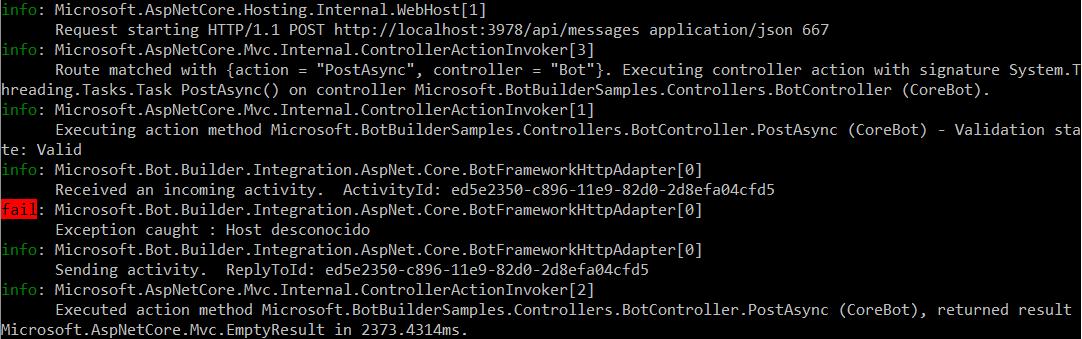 Unknown Host error in the logger
