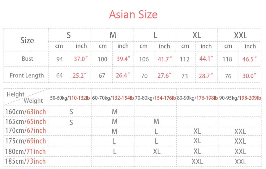 akatsuki hoodie size table