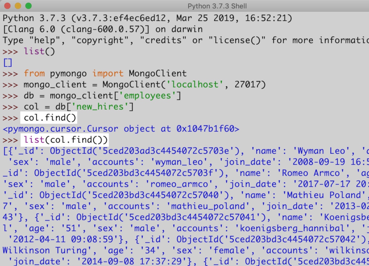 Screenshot of IDLE for Python using the list function to get all the documents in a MongoDB collection