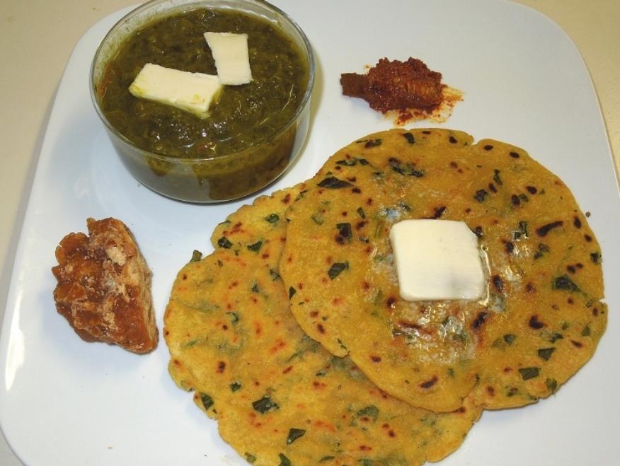 Punjab dish MAKKI-ROTI AND SARSON-SAAG
