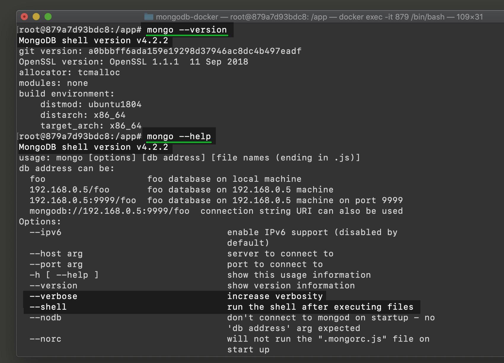 Terminal screenshot of mongo Shell version and help information