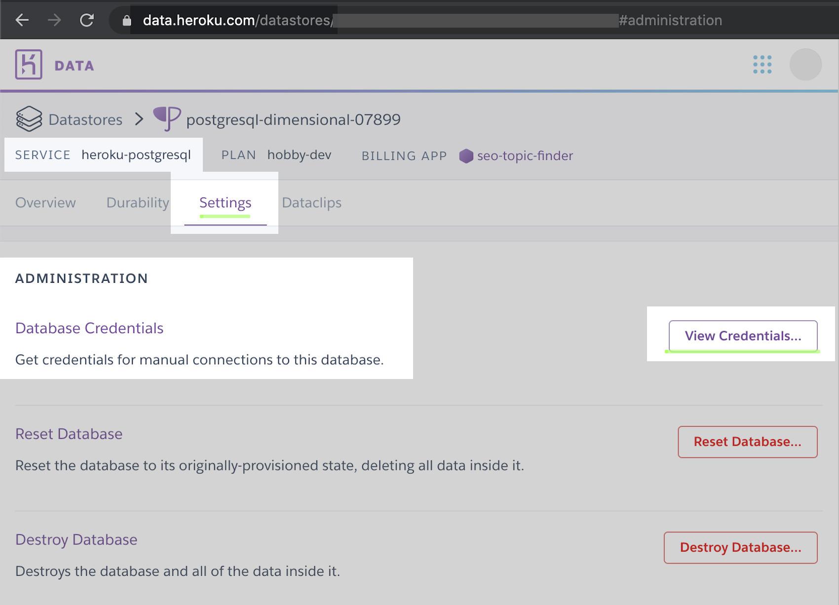 Screenshot of Heroku website view PostgreSQL database credentials for app
