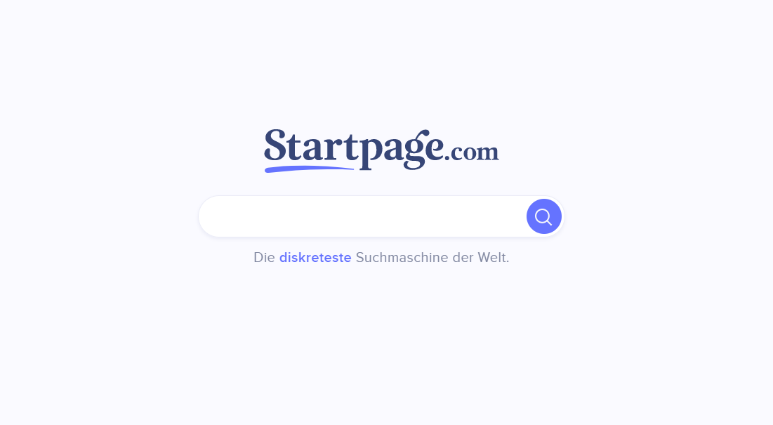 Startpage.com - Screenshot der Homepage