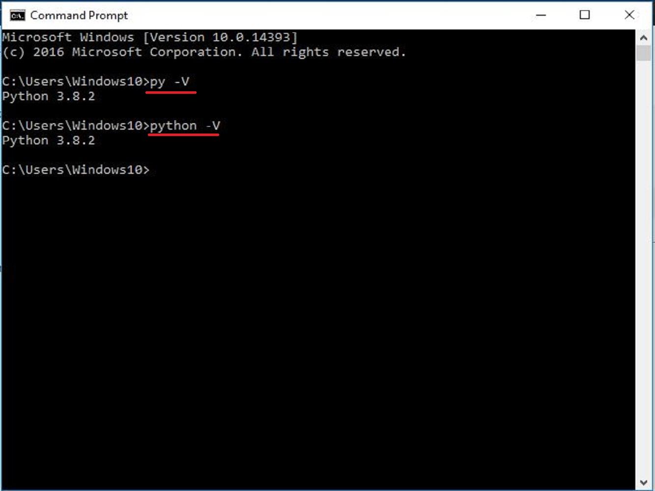 Screenshot of the python version check command