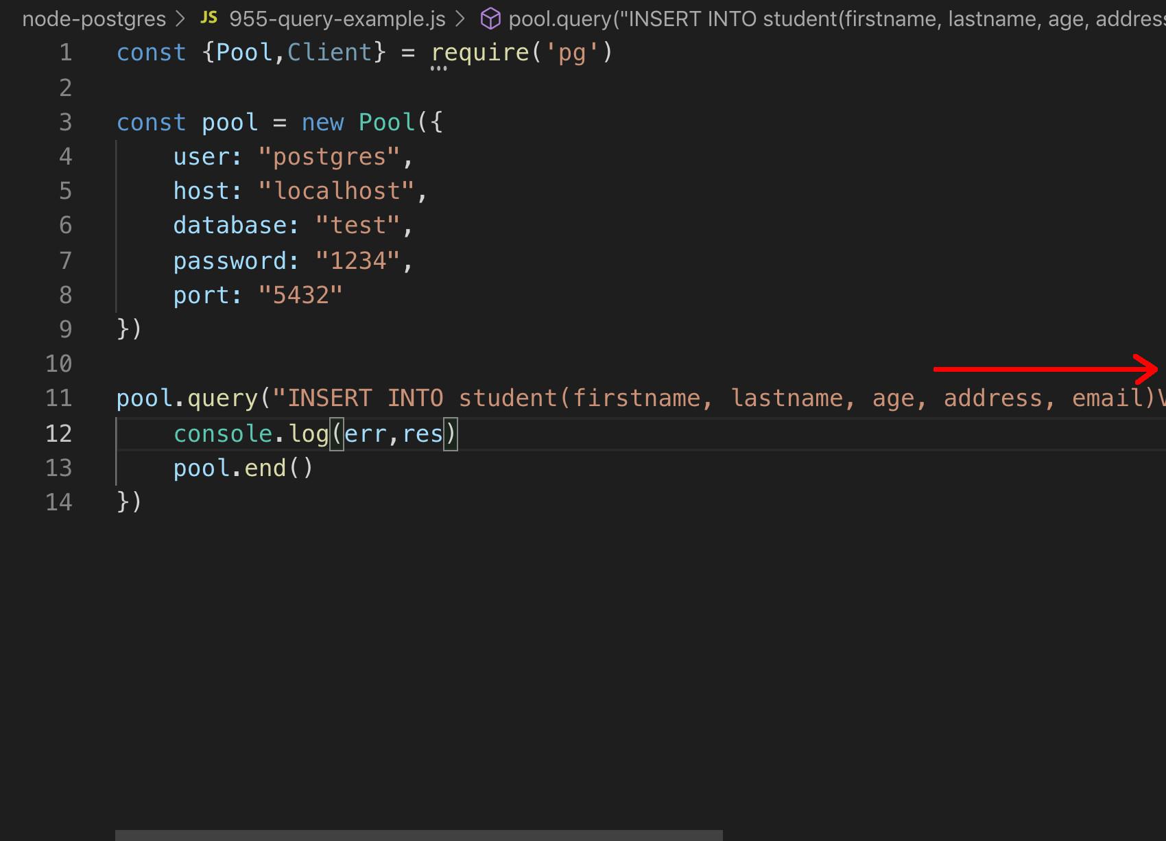 Screenshot of the code for the Node Postgres app in VS Code