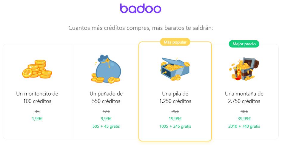 precio de los créditos de badoo