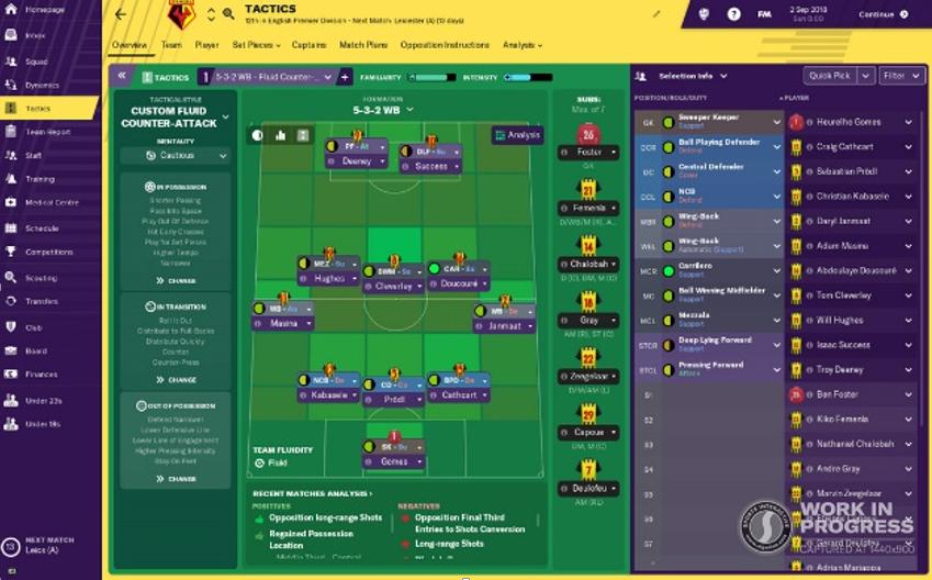En Football Manager 2019 podremos elegir entre numerosas tácticas predefinidas, o crear la nuestra propia