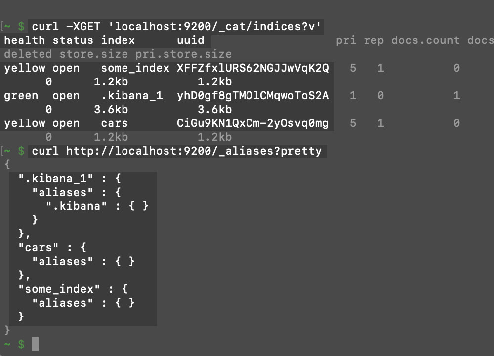 Screenshot of a terminal making cURL request to an Elasticsearch cluster to get the names, aliases, status, and health of its indexes