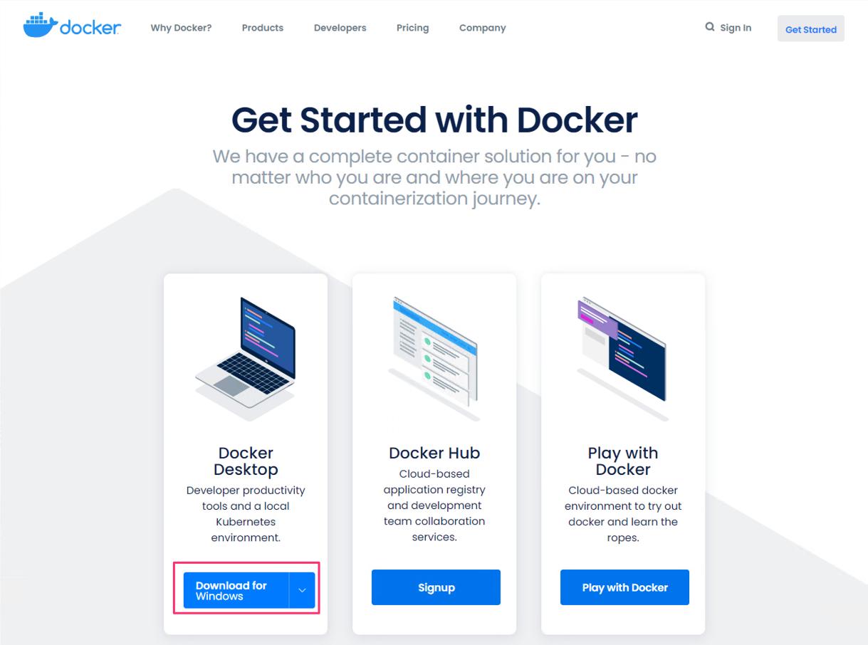 Docker for Windowsのダウンロード