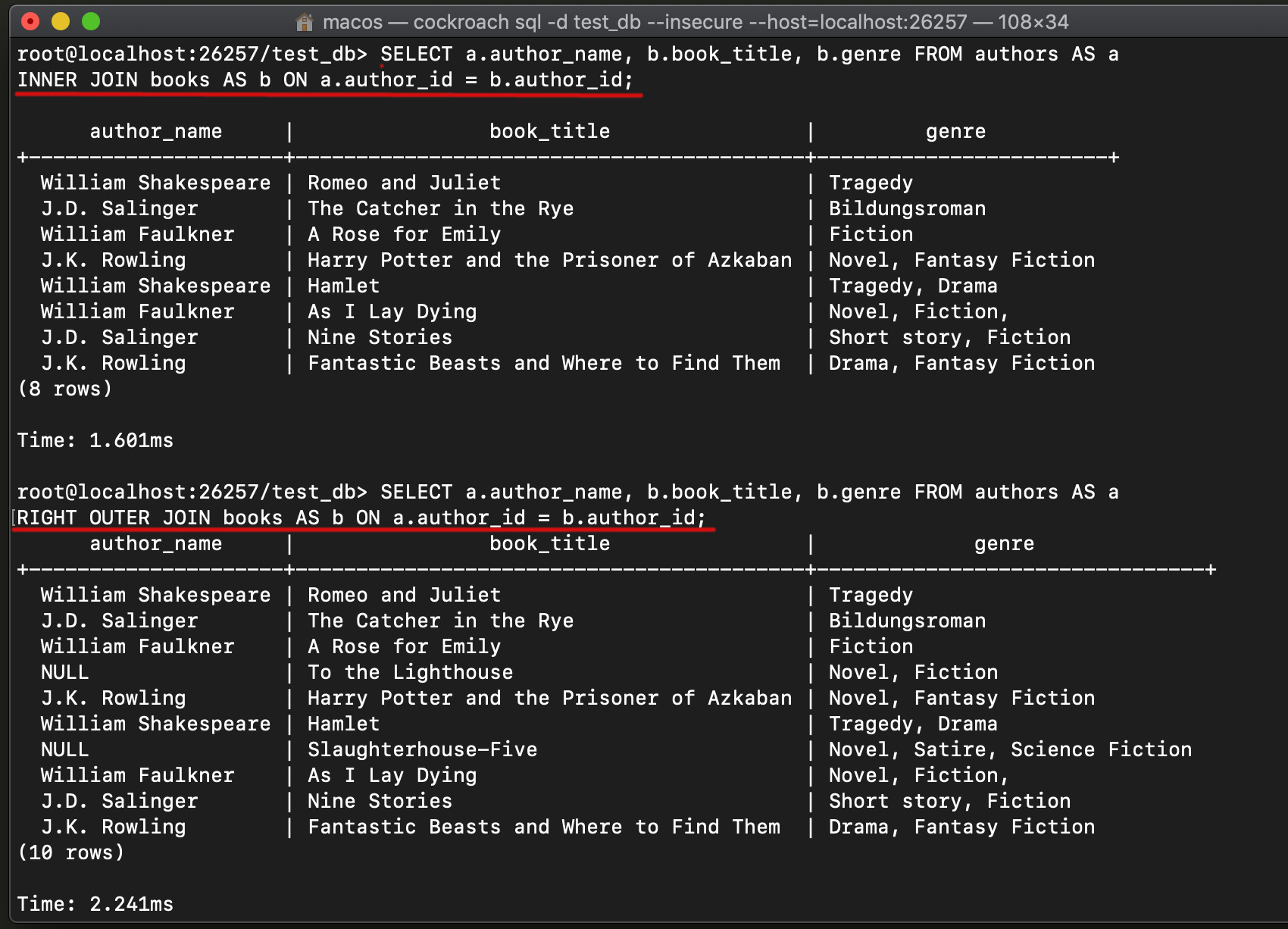 Screenshot of the Cockroachdb JOIN expressions in the CockroachDB SQL CLI