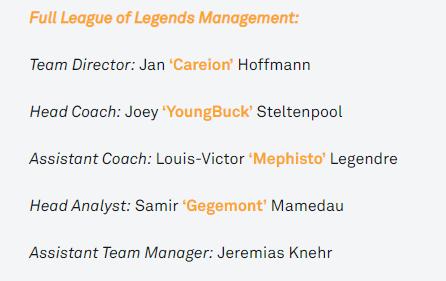 El equipo técnico de Fnatic de cara a 2019. Fuente: https://fnatic.com/articles/lol-youngbuck-introduces-the-new-management-team