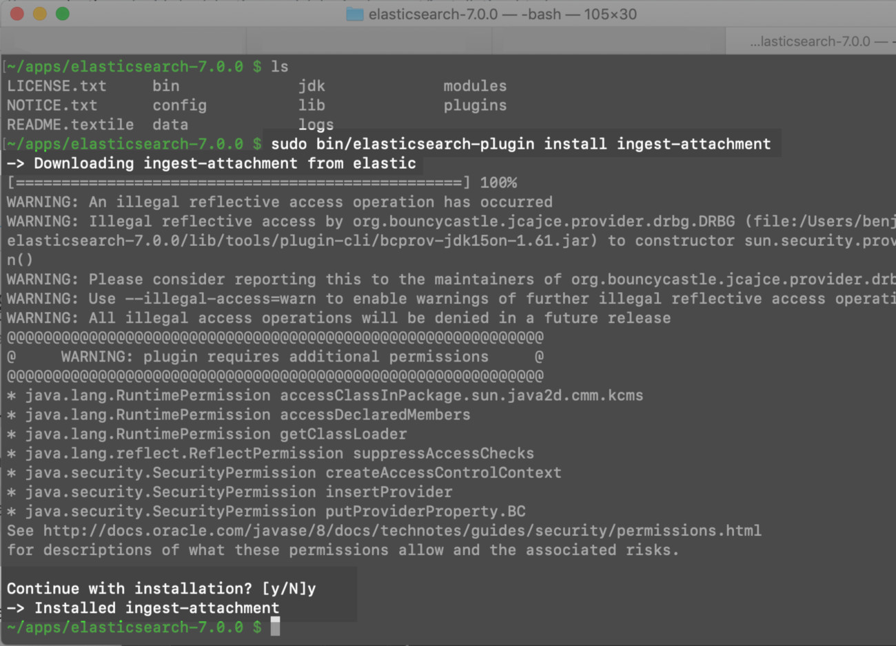 "Screenshot of a command in terminal to install the ""ingest-attachment"" plugin for Elasticsearch"