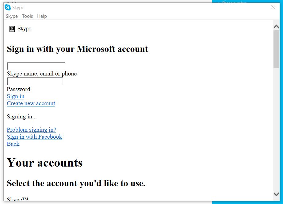 Skype login screen white - eehelp com