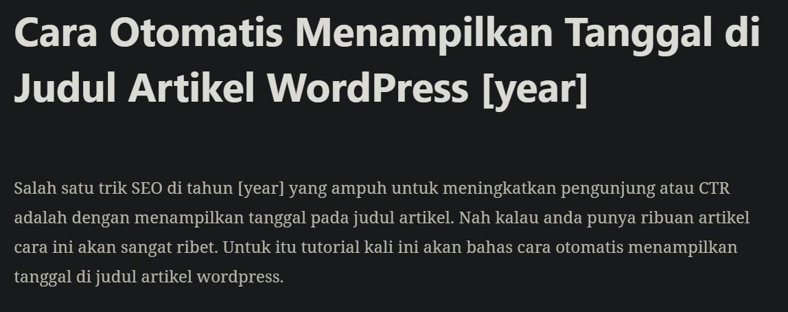 Cara Otomatis Menampilkan Tanggal di Judul Artikel WordPress 2020 3