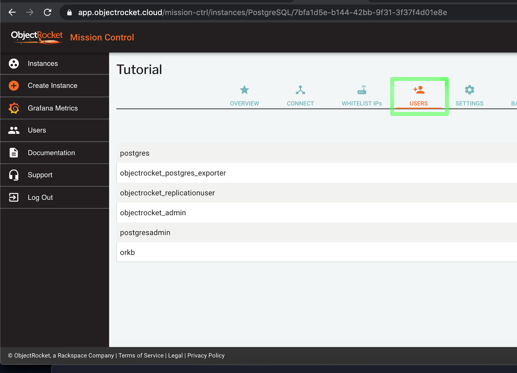Screenshot of Mission Control for ObjectRocket PostgreSQL create user example