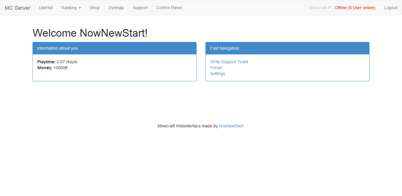 WEB] Minecraft Webinterface   For Users & Admins