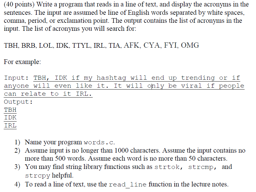 40 Points) Write A Program That Reads In A Line Of... | Chegg.com