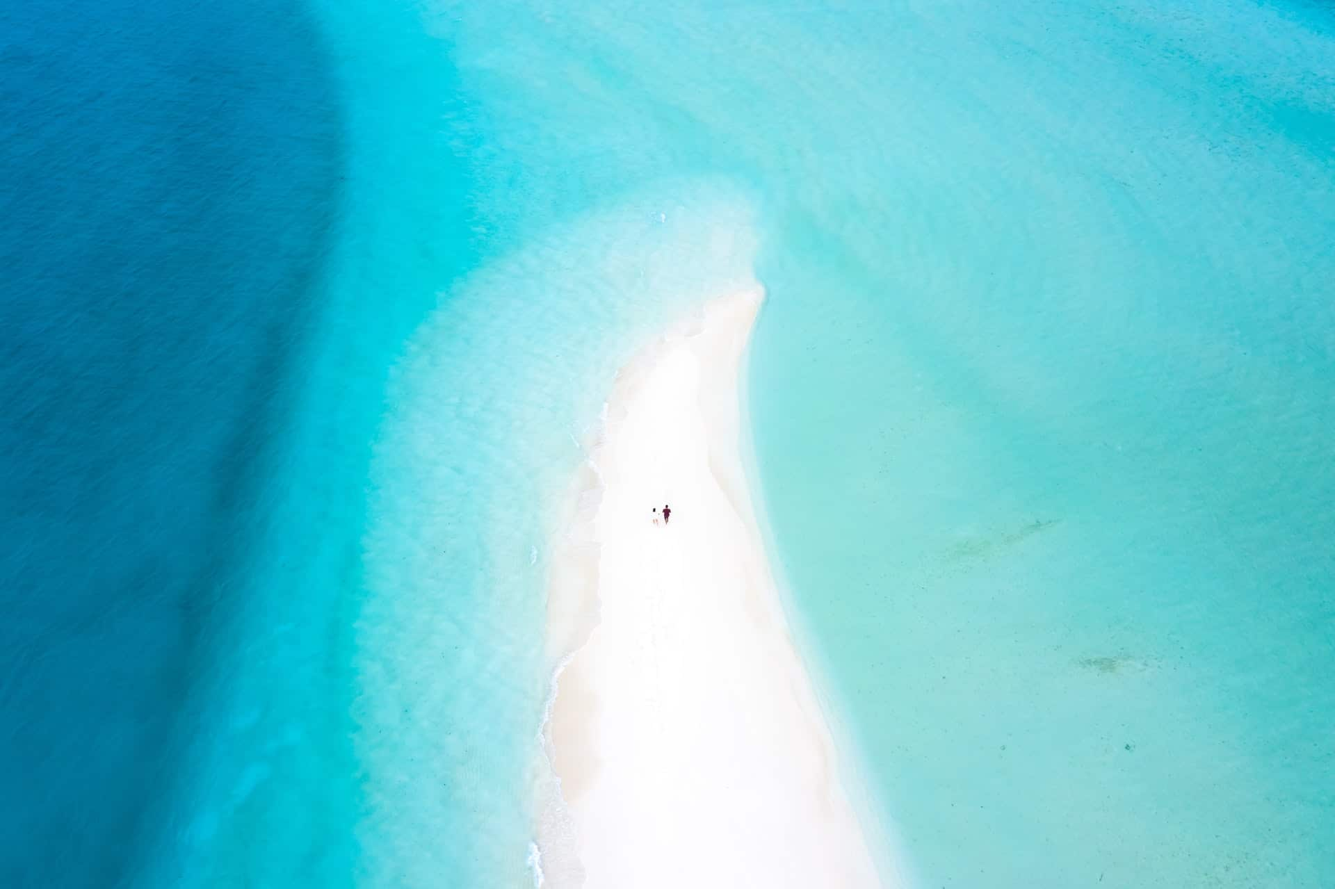 beach a couple, drone picture