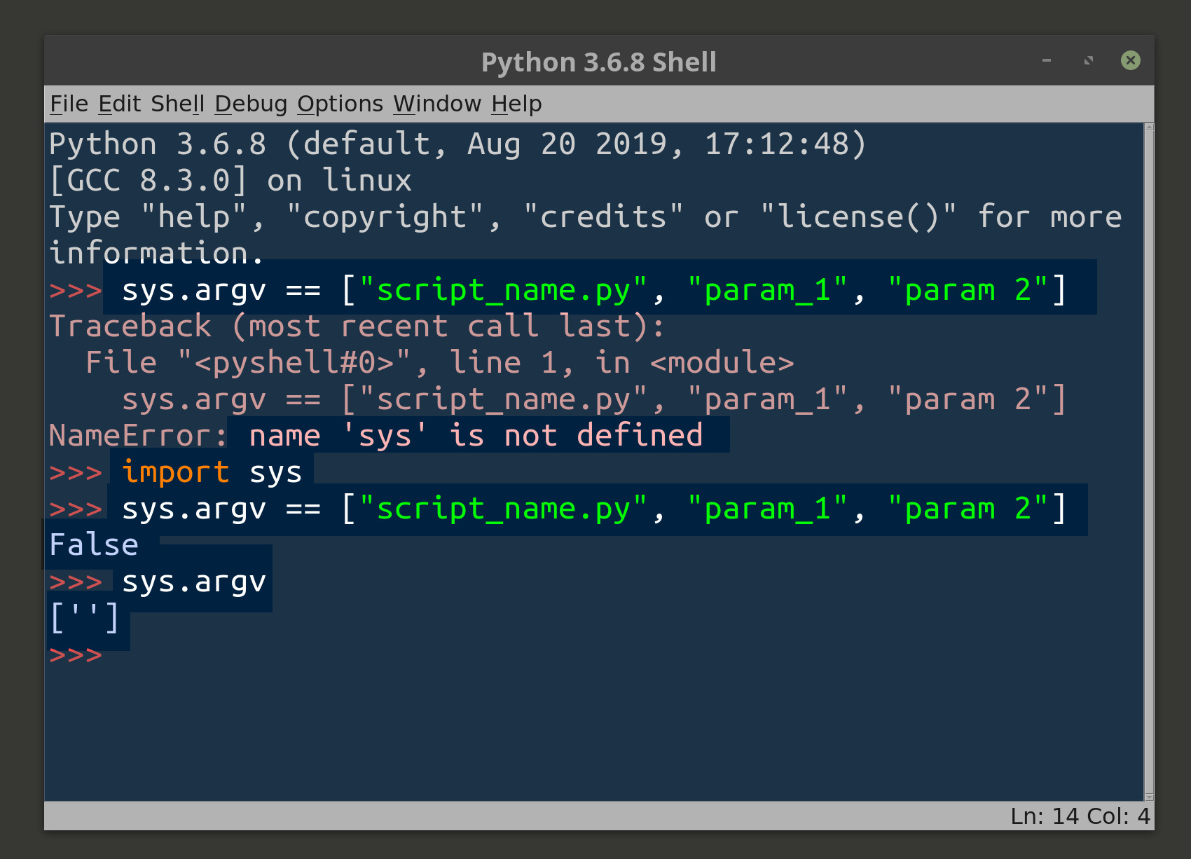 Screenshot of IDLE for Python 3 accessing the sys argv list of string arguments